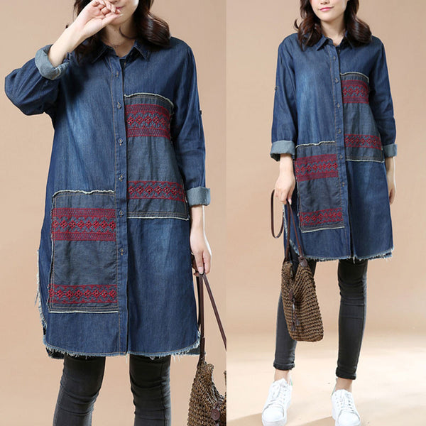 Spring Applique Irregular Denim Shirt dress