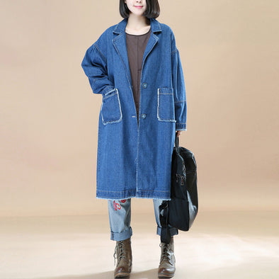 Polo Collar Single Breasted Pockets Buttons Long Sleeve Denim Coat - Buykud