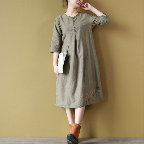 Floral Cotton Women Linen Loose Round Neck Coffee Dress - Buykud