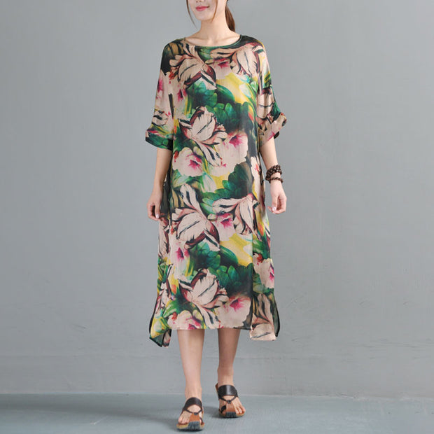 Loose Round Neck Half Sleeve Printed Dress Two Pieces - Buykud