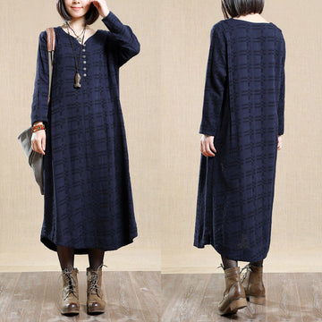 Retro Round Neck Long Sleeves Women Autumn Cotton Navy Blue Dress - Buykud