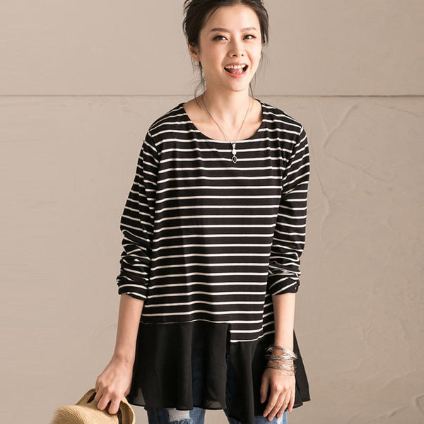 Cotton Splicing Women Black Stripe Shirt