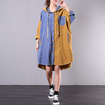 Buykud Casual Contrast Color Hooded Loose Dress