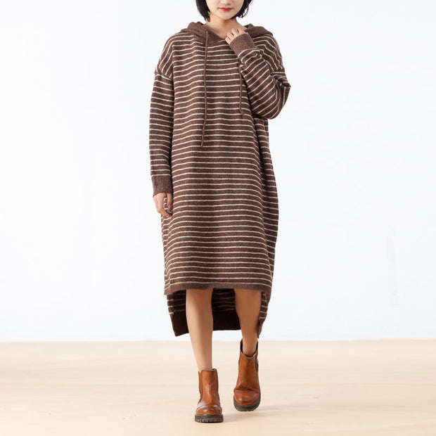 Coffee High Low Hem Knit Stripe Loose Dress