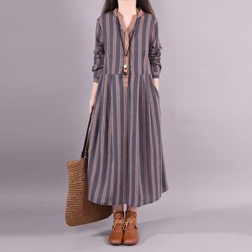 Buykud Retro Striped Folded Comfortable Loose Dress