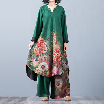 Buykud Comfortable Soft Floral Printed Two Piece Suit
