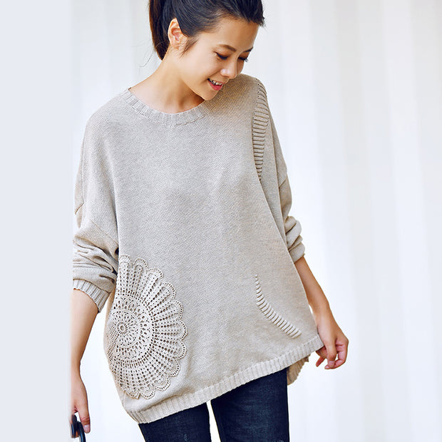 Buykud Retro Woven Sunflower Round Neck Knit Shirt