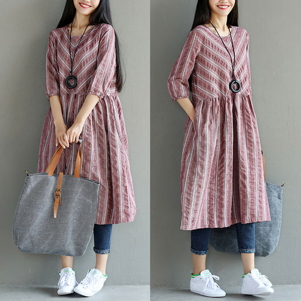 Folded Loose Casual Pocket Women Stripe Red Dress