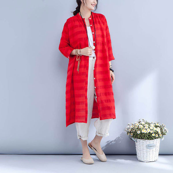 Stand Collar Three Quarter Sleeve Stripe Casual Red Dress - Buykud