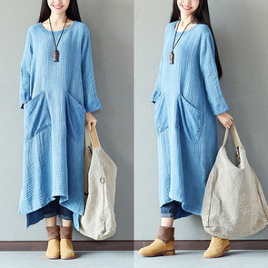 Retro Women Cotton Splitting Loose Casual Blue Dress - Buykud