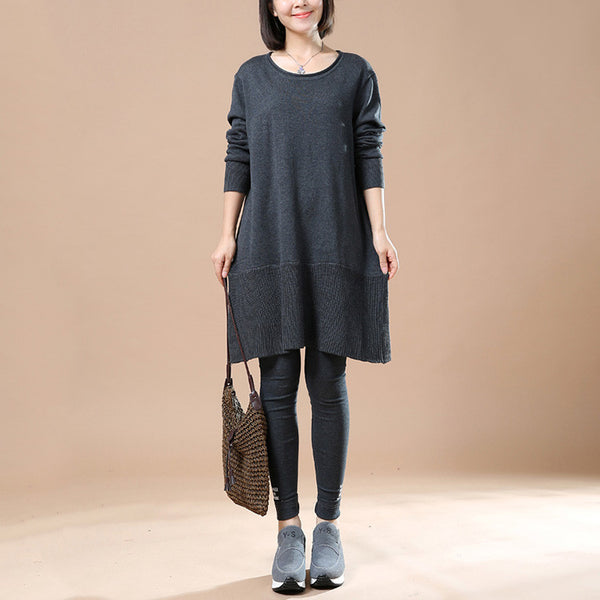 Women Autumn Long Sleeve Retro Casual Sweater Dress