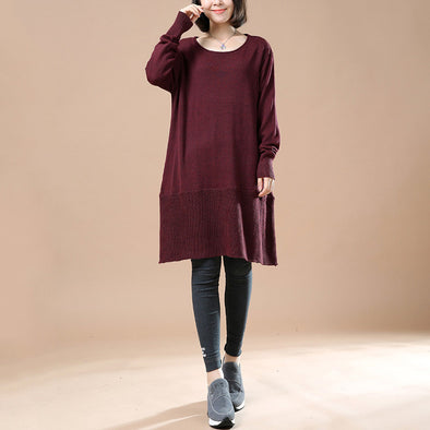 a07b02b12d7 Women Red Wine Autumn Long Sleeve Retro Casual Sweater Dress