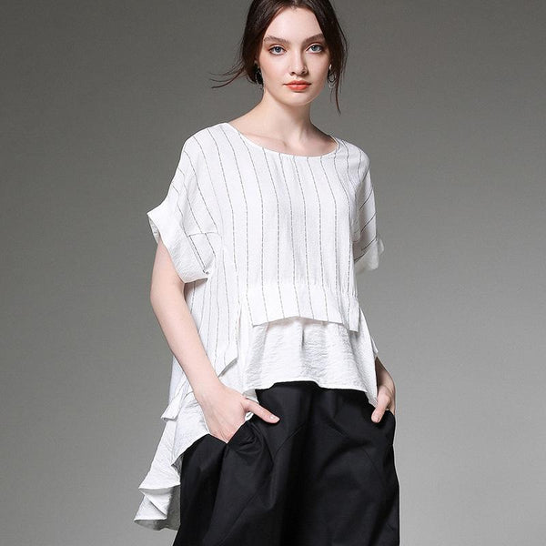 Casual Loose Striped Spliced Plus Size Blouse