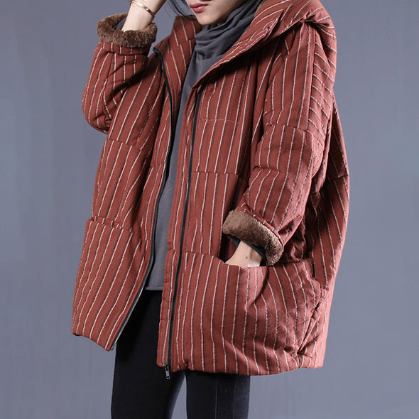 Stripe Hoodies Winter Casual Thick Cotton Coat