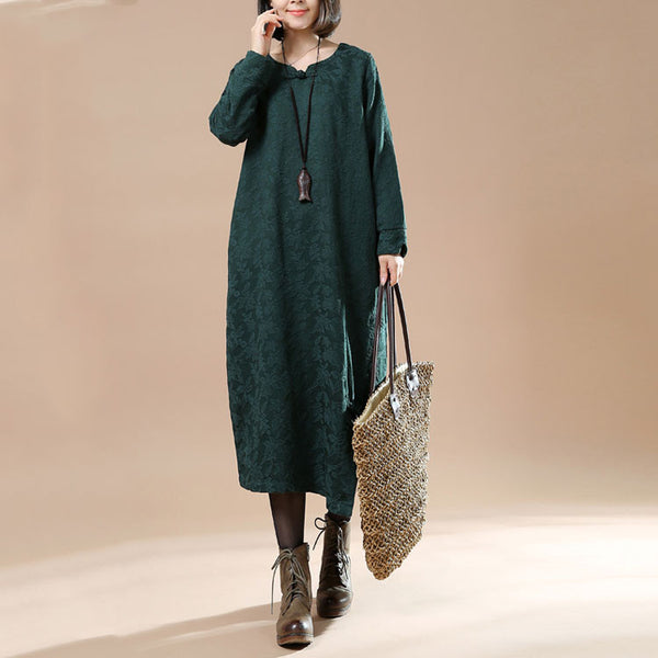 Autumn Large Size Women's Casual Long Sleeve Round Neck Plate Buttons Green Dress