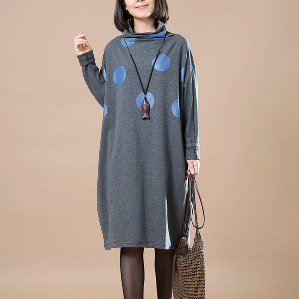 High Collar Dots Dress