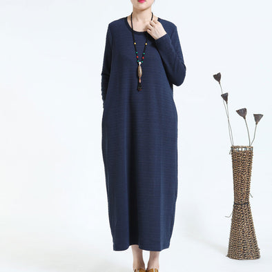 Casual Loose Thickening Round Neck Navy Blue Dress - Buykud