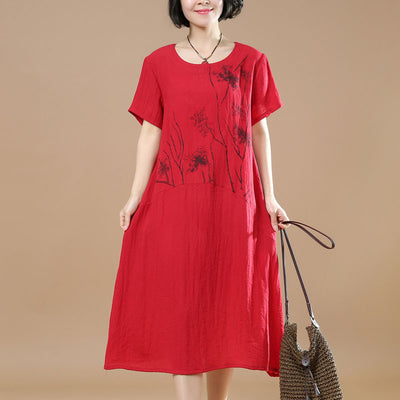 Printing Summer Women Short Sleeves Red Dress - Buykud