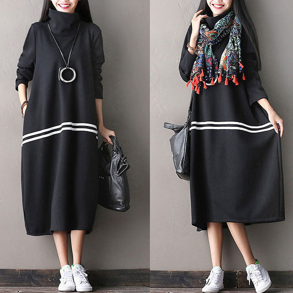 Thick Casual Long Sleeved Dress - Buykud