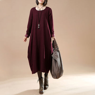 Autumn Large Size Women's Long Sleeve Wool Dress - Buykud