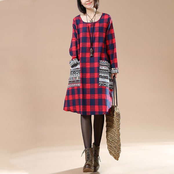 Large Size Women Autumn Plaid Long Sleeved Round Neck Pocket Dress - Buykud
