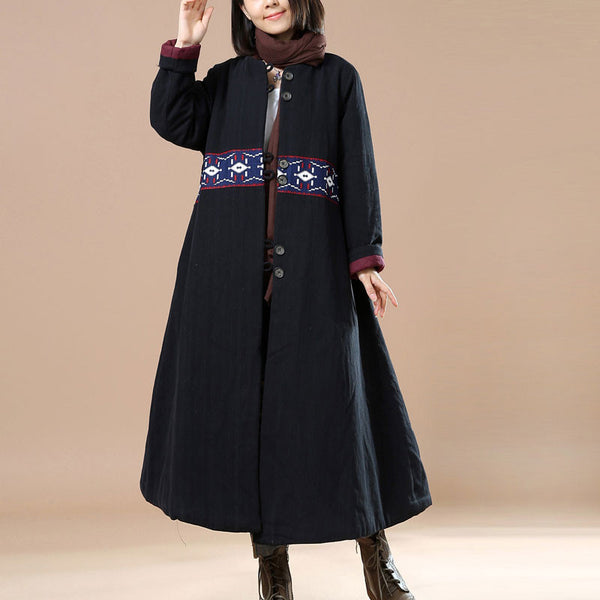 Retro Cotton Long Coat in Black, Size M/L - Buykud