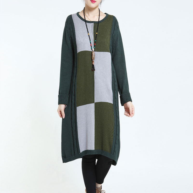 Casual Loose Stretch Sweater Green Dress