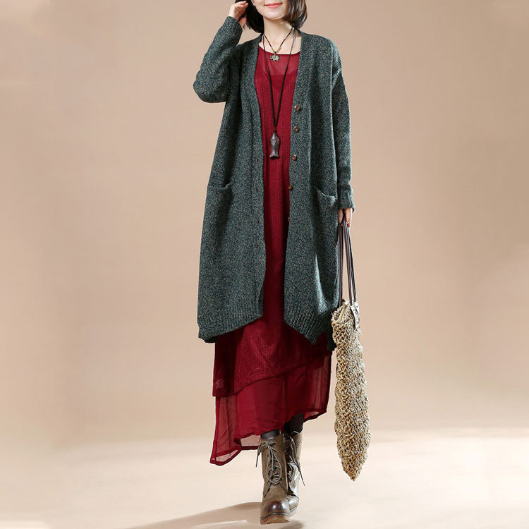 Autumn Women's Long Sleeve Retro Casual Sweater Cardigan Jacket