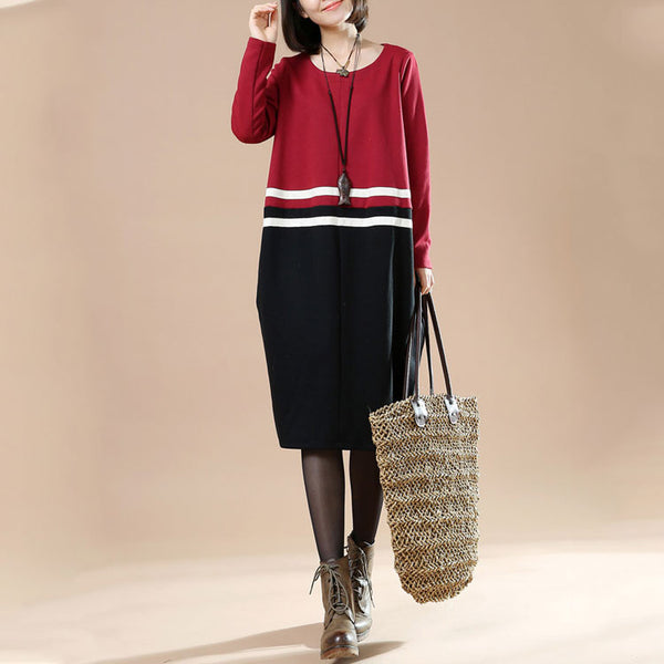 Autumn Large Size Women's Round Neck Striped Long Sleeve Stitching Irregular Dress