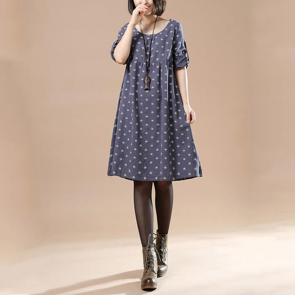 Autumn Large Size Women's Round Neck Long Sleeved A Line Print Dress Casual