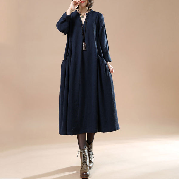Autumn Large Size Women's Casual Long Sleeve Cotton Linen Navy Blue Dress - Buykud