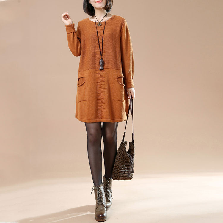 Autumn Round Neck Long Sleeved Knit Sweater