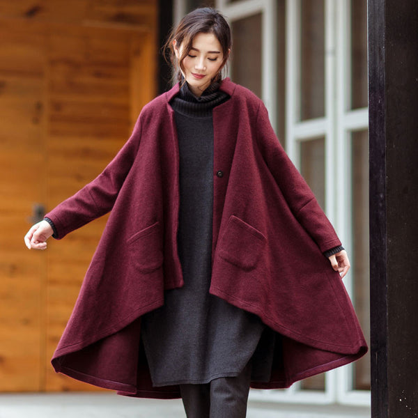 Wine Red Loose Wool Jacket Coat - Buykud