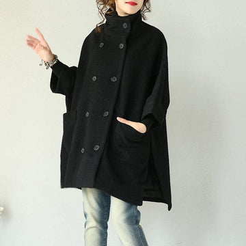 Black Double Breasted Wool Coat - Buykud