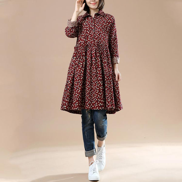 Autumn Ladies Long Sleeve Floral Retro Big Swing Dress
