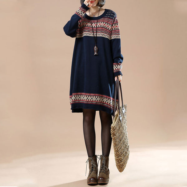 Autumn Retro Print Large Size Women's Casual Long Sleeve Sweater Dress