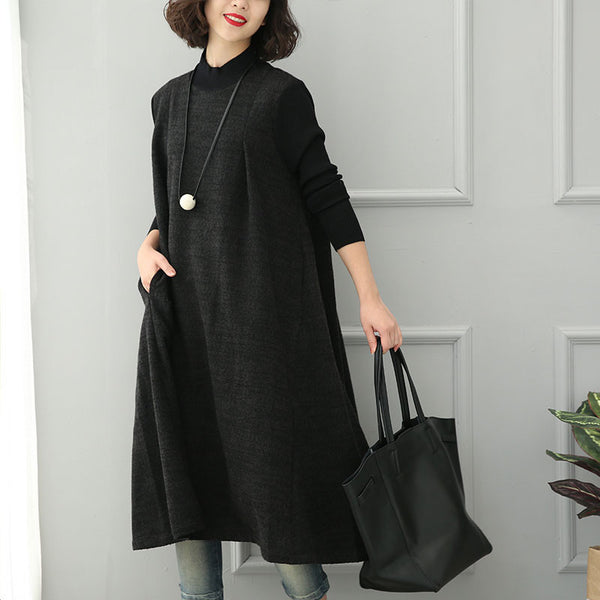 Black Stitching Loose Knit Dress