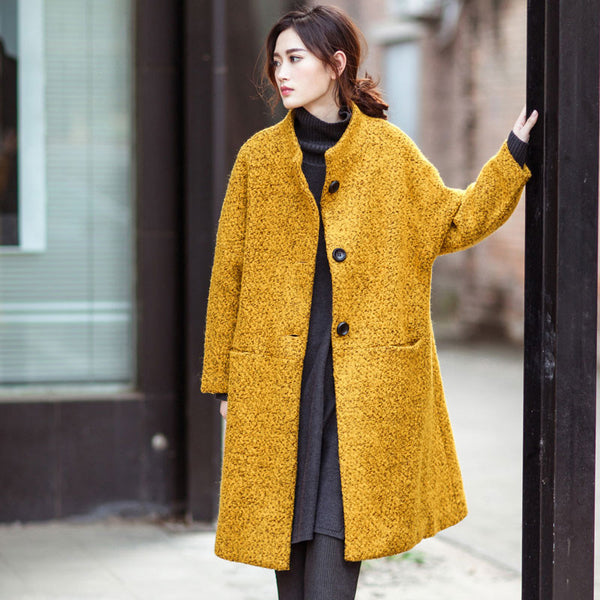 Yellow Loose Wool Coat