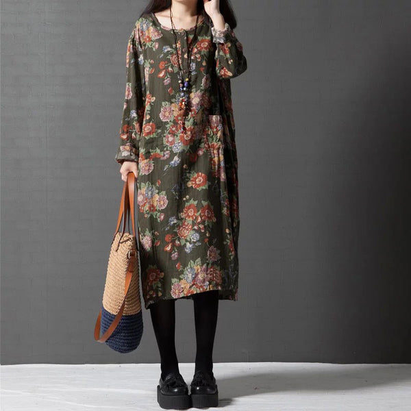 Loose Printed Cotton Linen Dresses