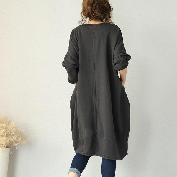 Gray Cotton Knit Loose Dress
