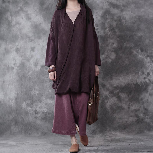 Loose Cotton And Linen Special Design Purple Shirt - Buykud