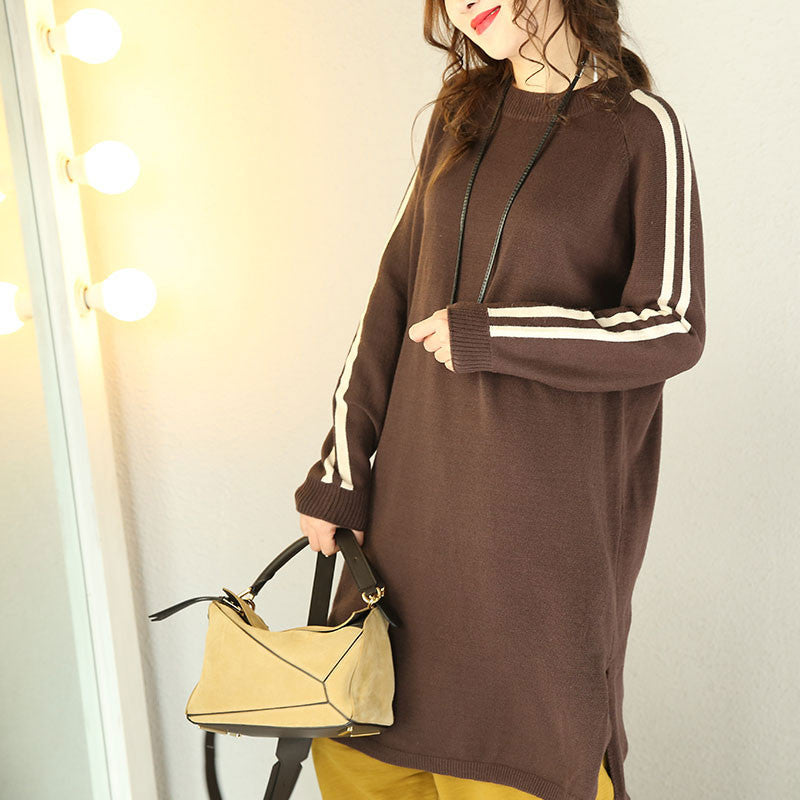 Women Casual Loose Knitting Sweater Dress - Buykud