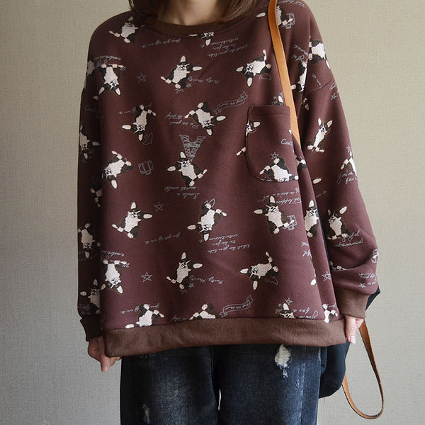 Women Cartoon Casual Loose Pullover Sweatshirt