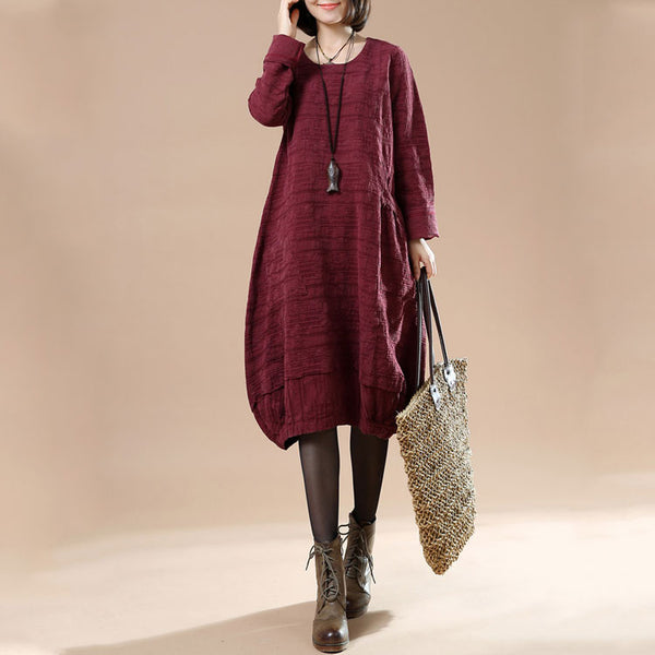 Autumn Large Size Women's Casual Long Sleeve Round Neck Irregular Dress