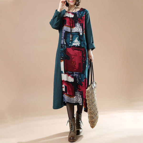 Women Autumn Plus Size Retro Print Long Sleeve Stitching Dress - Buykud