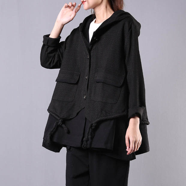 Buykud Literary Striped Hooded Fake Two-piece Coat