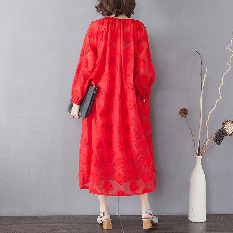 Embroidery Long Sleeve Lacing Single Breasted Red Dress