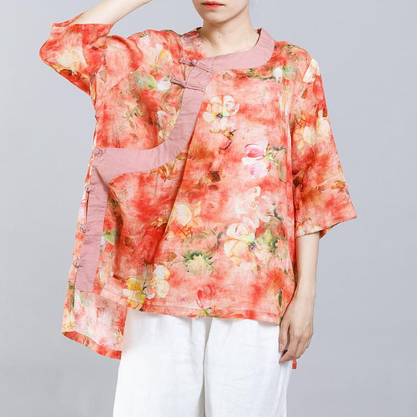 Chinese Style Floral Printed High Low Hem Shirt