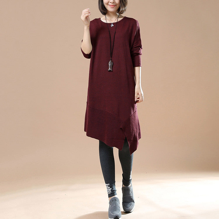 Women's Autumn Long Sleeve Round Neck Loose Red...