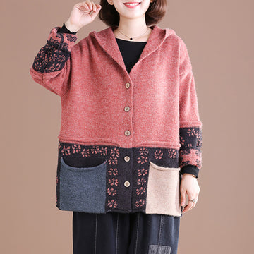 Buykud Comfortable Soft And Simple Printed Hooded Sweater